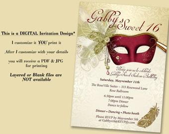 Masquerade Invitation, sweet 16, Maroon Masquerade, Masquerade Party, Sweet 16 Masquerade, Sweet 16 Invitations, quinceanera invitation