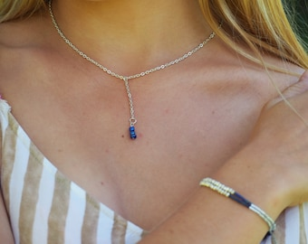 Blu Drop Necklace // Indigo Seed beads // Silver Chain // Lariat Necklace