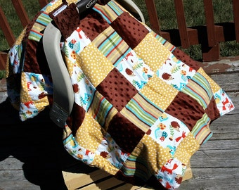 Woodland Animal Car seat cover l Car seat covers l Oversized car seat cover l Boy car seat cover l Girl Car seat cover l baby shower gifts