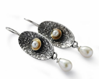 Floral oxidized silver pearl earrings, Sterling silver mixed with 9K gold, wedding earrings, Freshwater pearl, delicate long earrings, Sale