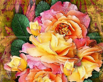 WATERCOLOR ROSES PINK and Yellow Print, 8x10 Digital Print, Pink Flowers, Pink Florals, Flowers, Roses, Home and Living Decor Wall Decor