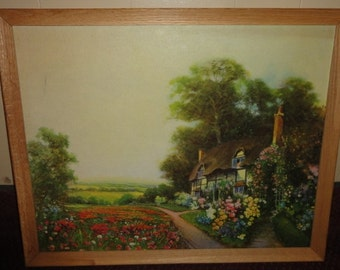 Vintage Cottage Theme Lithro on Board/Cottage/ Flowers/ Trees