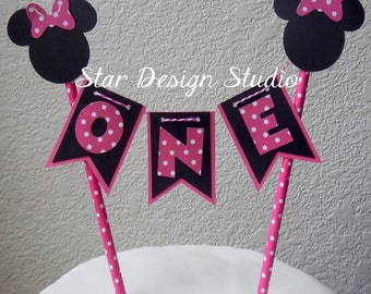 Minnie Mouse Cake Topper Birthday Bunting cake topper-  Hot Pink