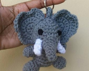 Crochet baby elephant Keychain/keyring. Amigurumi elephant Keychain/keyring.