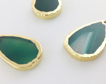 Green Agate Slice Pendant with Gold Plated Rim // Gold Finish // BBB Supplies Luxe {NC-011}