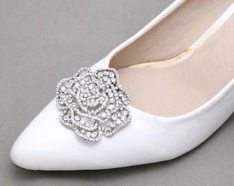 A Pair, Crystal Shoe Clips,Rhinestone Shoe Clips,Wedding Bridal Shoe Clips,Shoes Decoration,Rose Shoes,Flower Shoe Clips