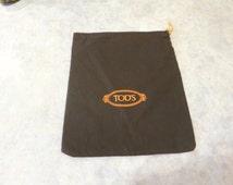 "Medium Tod's dust bag,  regift,  dustbag, 12"" x 14"",  Tod's,  storage travel upcycle, dark brown, 816/641"