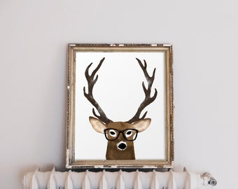 Original Hand Painted Watercolor Deer with Study Glasses, Instant Download Printable Art!
