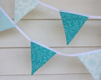 SALE 25% off - Handmade Fabric Bunting - Aqua and White - Ten Double Sided Flags
