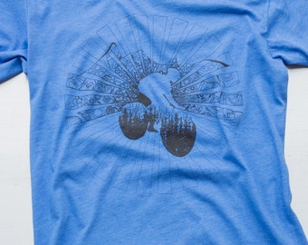Mountain bike shirt,  graphic on american apparel. color: heather blue, s,m,l,xl,xxl.free shipping in USA