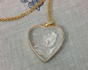 Beautiful Vintage Reverse Carved Lucite Rose Pendant Heart Shaped