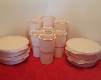 Vintage tupperware tumblers set and tupperware cereal bowls