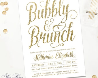 Bubbly And Brunch, Bridal Shower Invitation - White & Gold Glitter - Printed Or Digital - Glam White Party Invite - Ava