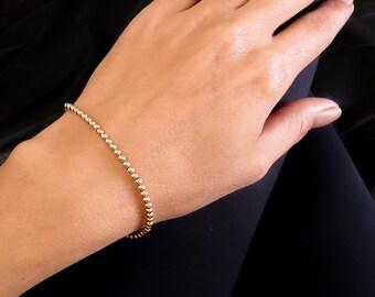 Gold bracelet, gold bead brecelet, gold beaded bracelet, gold jewelry, gold beads bracelet, everyday bracelet, minimal bracelet