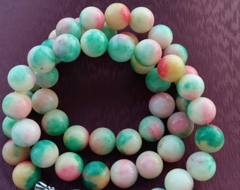 Fashion apple green quartzite jade beaded necklace, three-color bead necklace