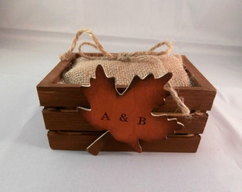 Autumn leaves Ring box, Rustic fall wedding decor