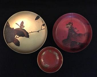 Asian Saucers and Bowl