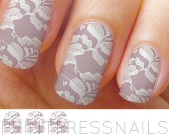 Light Taupe and White Flower Lace Nail Wraps, Nail Art, Nail Decal