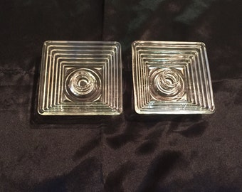 "Pair Art Deco Anchor Hocking 'Manhattan' Square Candleholders! 1""H x 4.5"" W!"