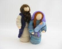 Starter Christmas nativity set; Mary, Joseph, and baby Jesus; needle felted wool, Waldorf inspired miniatures, Christmas & Advent decoration