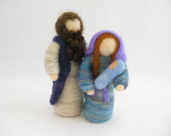 Starter Christmas nativity set; Mary, Joseph, and baby Jesus; needle felted wool, Waldorf inspired miniatures, Christmas & Advent decoration