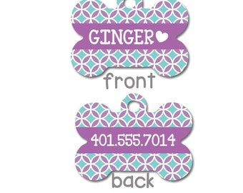 Personalized Pet ID Tag - Personalized Pet Tag - Custom Pet ID Tag -  Dog Name Tag - Dog ID Tag - Dog Collar Name Tag - Purple Teal