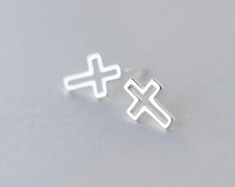 Free shipping: sterling silver cross earrings