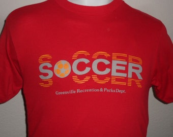 Vintage Original 1980s Greenville Recreation SOCCER Soft Thin Red Hanes T Shirt M