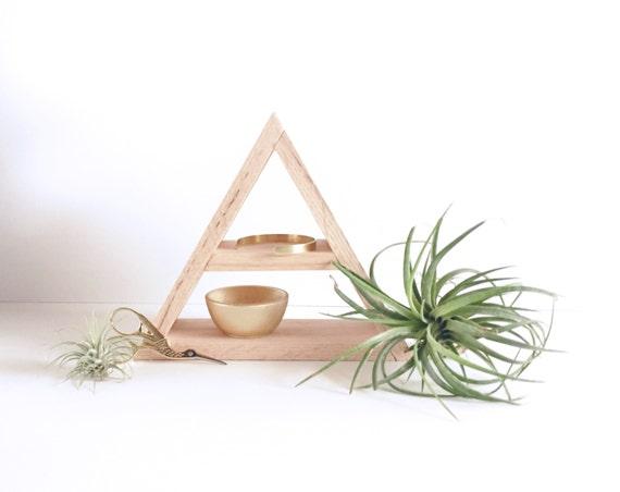 Painted Wood Triangle Shelf Geometric Wood Shelves Modern