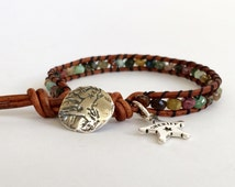 Leather, Tourmaline Wrap Bracelet | Sterling Silver Handmade Pony Button and Sheriff Badge Charm | Western | Cowgirl | Multi-color Gemstones
