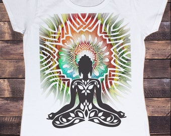 Women's White T-Shirt Buddha Yoga Chakra Meditation India Zen Pose TSG10