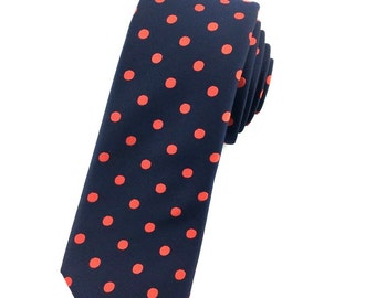 Navy blue tie with red polka dot 6.5 cm skinny tie. Slim Tie. Narrow Thin Tie. Skinny Tie. Formal Necktie. Navy Blue tie. Skinny ties