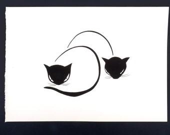 Cat print, Cat art print, Black and white art,silhouette art, black and white print, Cat painting, cat drawing