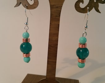 Blue and rose gold drop earrings.
