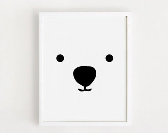 INSTANT DOWNLOAD Cute Bear Children room art Printable art Black and white Bear print for babies Baby decor Nursery wall art 8x10 / 11x14