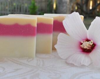 Handcrafted SOAP, HAWAIIAN SUNRISE, Handmade Soap, Cold Process, Artisan Soap, Vegan Soap, Plumeria, Jasmine, soap for women, HS225