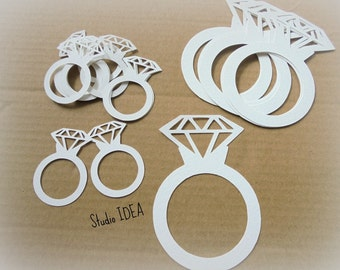 White Diamond Ring Cut outs-2in, 3in, 1.5in cut outs- or  Choose Your Colors & Size