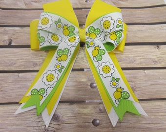 Butterflies and Flowers Stacked Tails Down Hair Bow, Cheer Bow