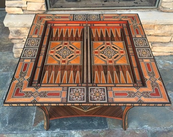Wood inlaid folding game table. Backgammon, chess, and cards table