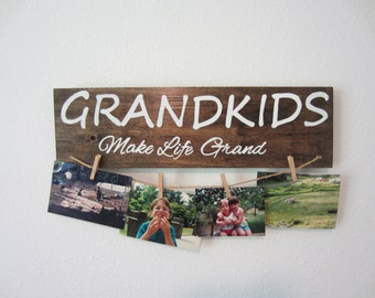 Grandkids sign, gift for grandparent, gift for grandma, rustic sign, rustic wall decor, christmas gift for grandparent, grandparent gift