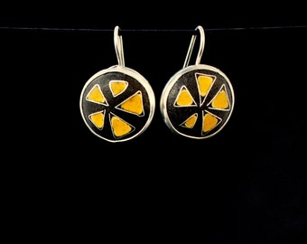 cloissone enamel 'citrus' earrings