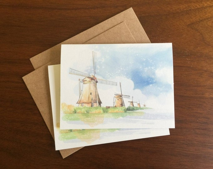 Windmill Notecard Greeting Card Blank Note Card Bulk Cards Holiday Card Notecard Set Stationary Multi Language Gift Card Logo Free