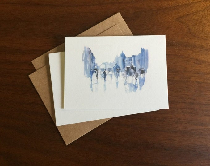 Watercolor City Street Notecard Greeting Card Blank Note Card Bulk Cards Holiday Card Notecard Set Stationary Gift Card Logo Free