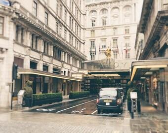 The Savoy Hotel, London Photography Print, Black Cab, Travel Photo, Fine Art Print, London Decor, Architecture, England, UK, Wall Art