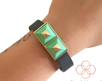 Charm to Accessorize Fitbit Flex, Fitbit Flex 2 or Jawbone Up -The ANNA Gold Studded Charm in Green to Enhance and Protect Your Tracker
