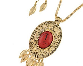 Fitbit Jewelry Set for Fitbit Flex - The EMBER Vintage-Inspired Red and Gold Fitbit Necklace and Earrings Set - FREE U.S. Shipping