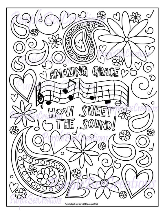 Coloring page hymn coloring page amazing grace for Grace coloring page