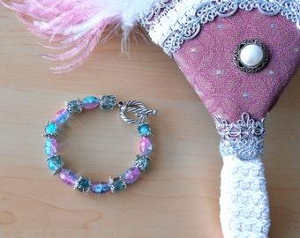 Pink Ombre Bracelet-Blue Ombre Bracelet-Pink and Blue Bracelet-Multicolored Bracelet