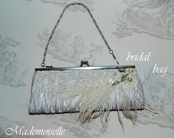 Feather clutch purse, bridal clutch bag,bridal evening bag, wedding clutch bag, feather evening bag, vintage feather bag, flapper clutch bag