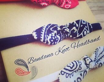 Bandana Knot/Knot Headband/Red/White/Blue/Paisley/Kerchief/Bandana/Summer/Country/Cowgirl/Headband/Baby/Infant/Hairclip/Bandana Headband
